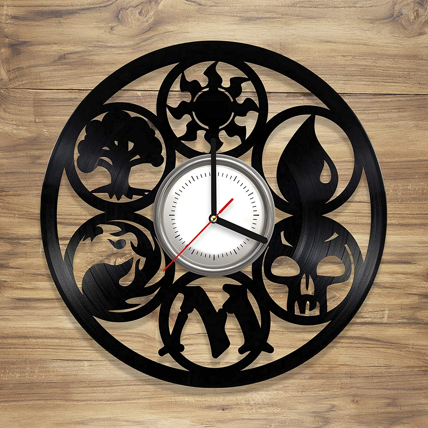 Magic The Gathering Vinyl Record Wall Clock Card Game Magic Symbols Perfect Art Decorate Home Unique Gift idea Him Her 12 inches