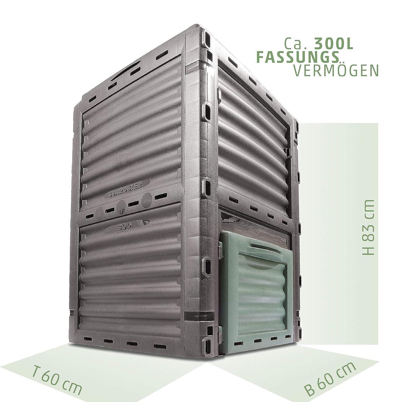 Compostador de compostador 4smile - Made in Europe, 300 L Jardín Papelera, base térmica - Compostador sin para basura orgánica | Color: antracita vegetal de ...