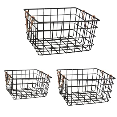 The Nifty Nook | Wire Nesting Baskets | Shabby Chic French Country Style | Home Decor | Utility Storage Bins | Great for Household Organization | Black Finish with Copper Handles | Set of 3 | Square