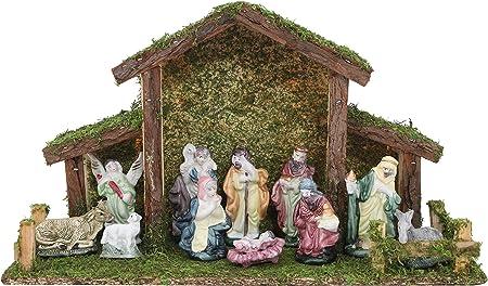 Toyland Presepe Tradizionale di Natale - Stalla con 12 Figure di