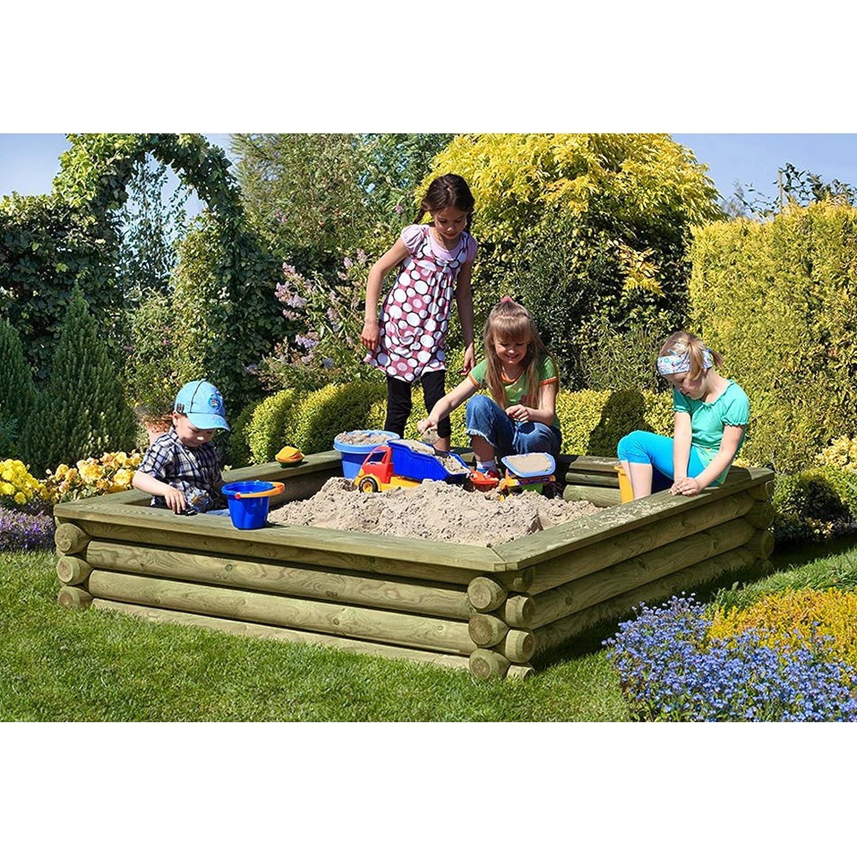 Sandkasten 180x180 cm aus Rundholz Ø 10 cm mit Deckel aus Holz von Gartenpirat®