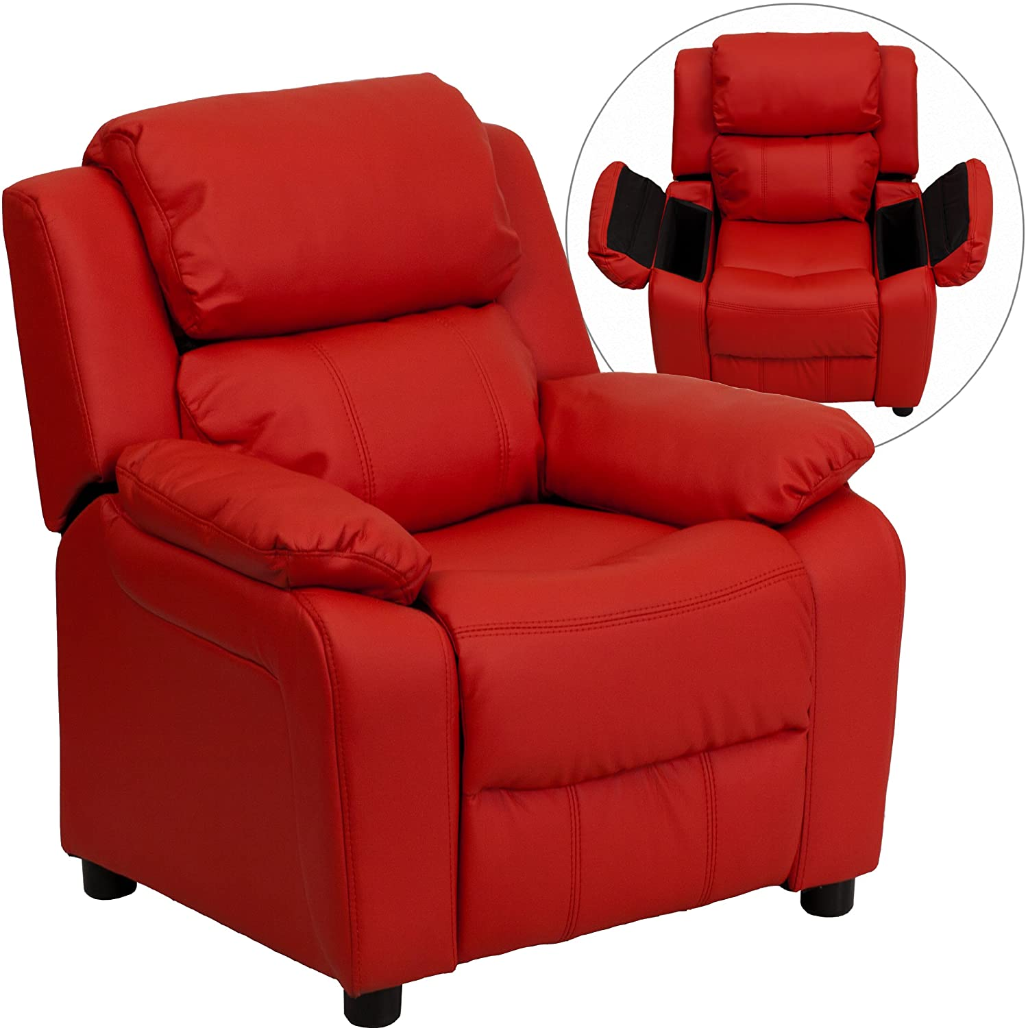 Amazon.com: Flash Furniture Deluxe Padded Contemporary Red Vinyl Kids  Recliner With Storage Arms: Kitchen U0026 Dining