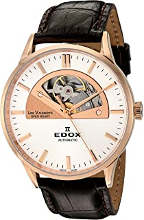 84fccce29 Edox Men's 85014 37R AIR Les Vauberts Analog Display Swiss Automatic Brown  Watch