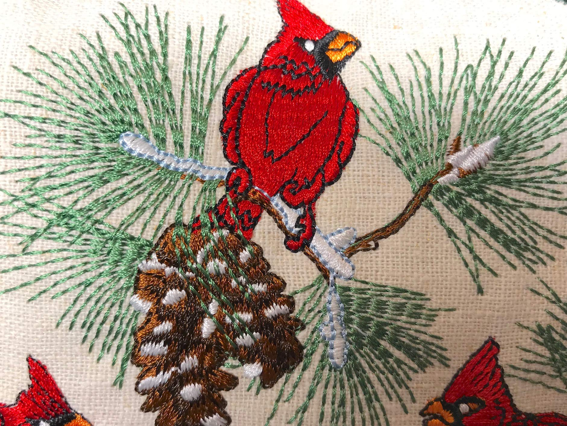 Paine's Balsam Fir Pillow 6''x9'' Embroidered Sampler Cardinals Pine Cones Birds by Paine's (Image #2)