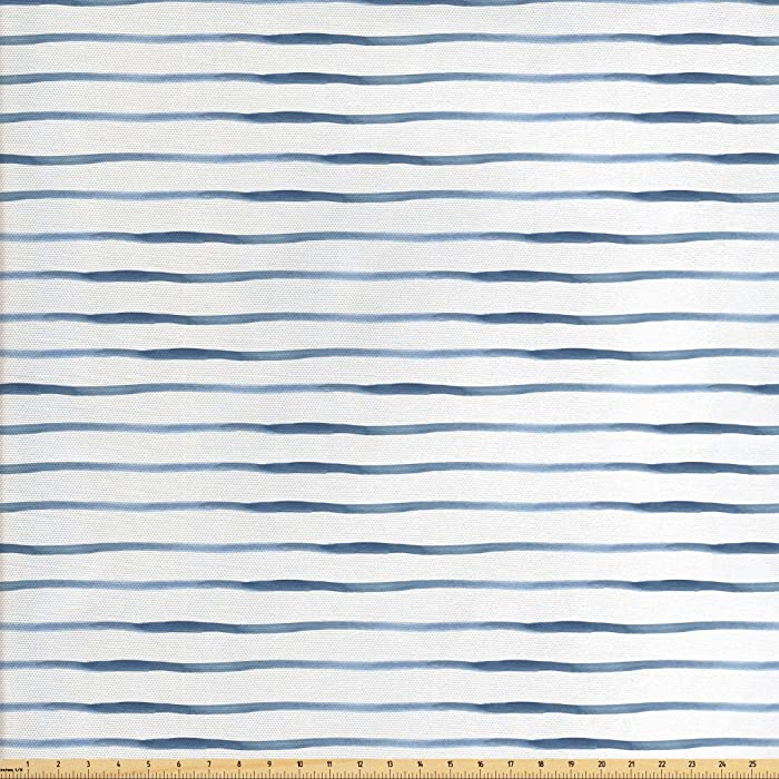 Ambesonne Harbour Stripe Fabric by The Yard, Abstract Brushstroke Nautical Ocean Horizontal Lines Soft Picture, Decorative Fabric for Upholstery and Home Accents, 1 Yard, Night Blue