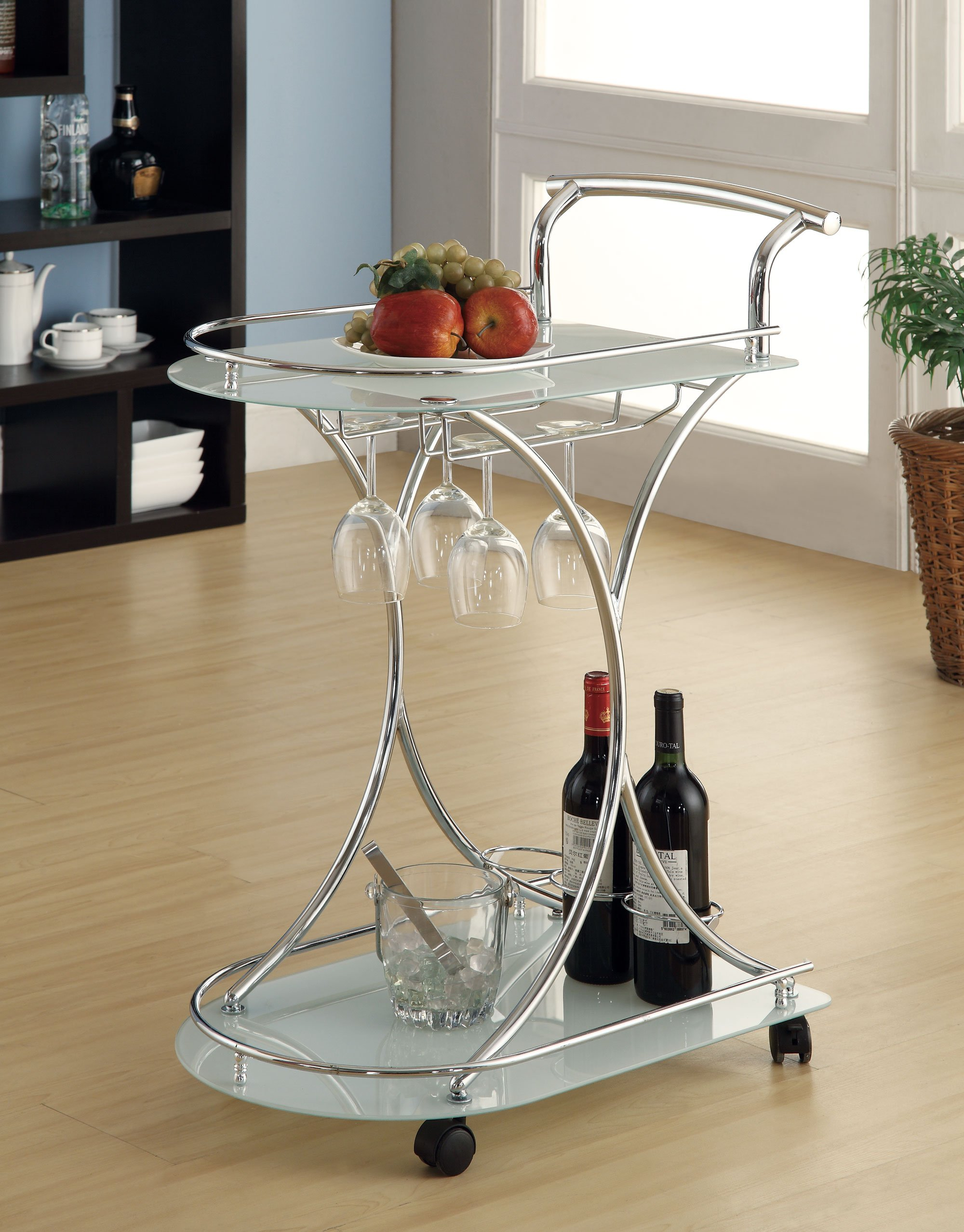 Coaster Contemporary Chrome Finish Serving Cart with 2 Frosted Clear Glass Shelves