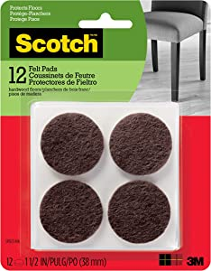 Scotch Mounting, Fastening & Surface Protection SP823-NA Scotch Felt Pads Round, 1.5 in. Diameter, Brown, 12/Pack
