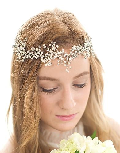 Babeyond Nupcial hecha a mano de lujo de diamantes de imitación de la boda banda de pelo de Hairband hoja de cristal austríaco floral con cinta de encaje (plata)