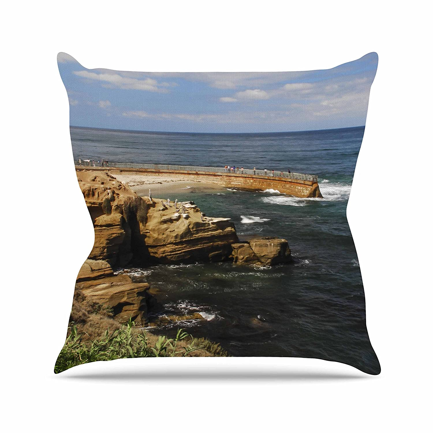 Kess InHouse Nick Nareshni Ocean Jetty Blue Brown Throw Pillow 26 by 26
