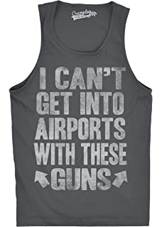 58cdfa3c5bc06 Crazy Dog T-Shirts Mens Can't Get Into The Airport with These Guns