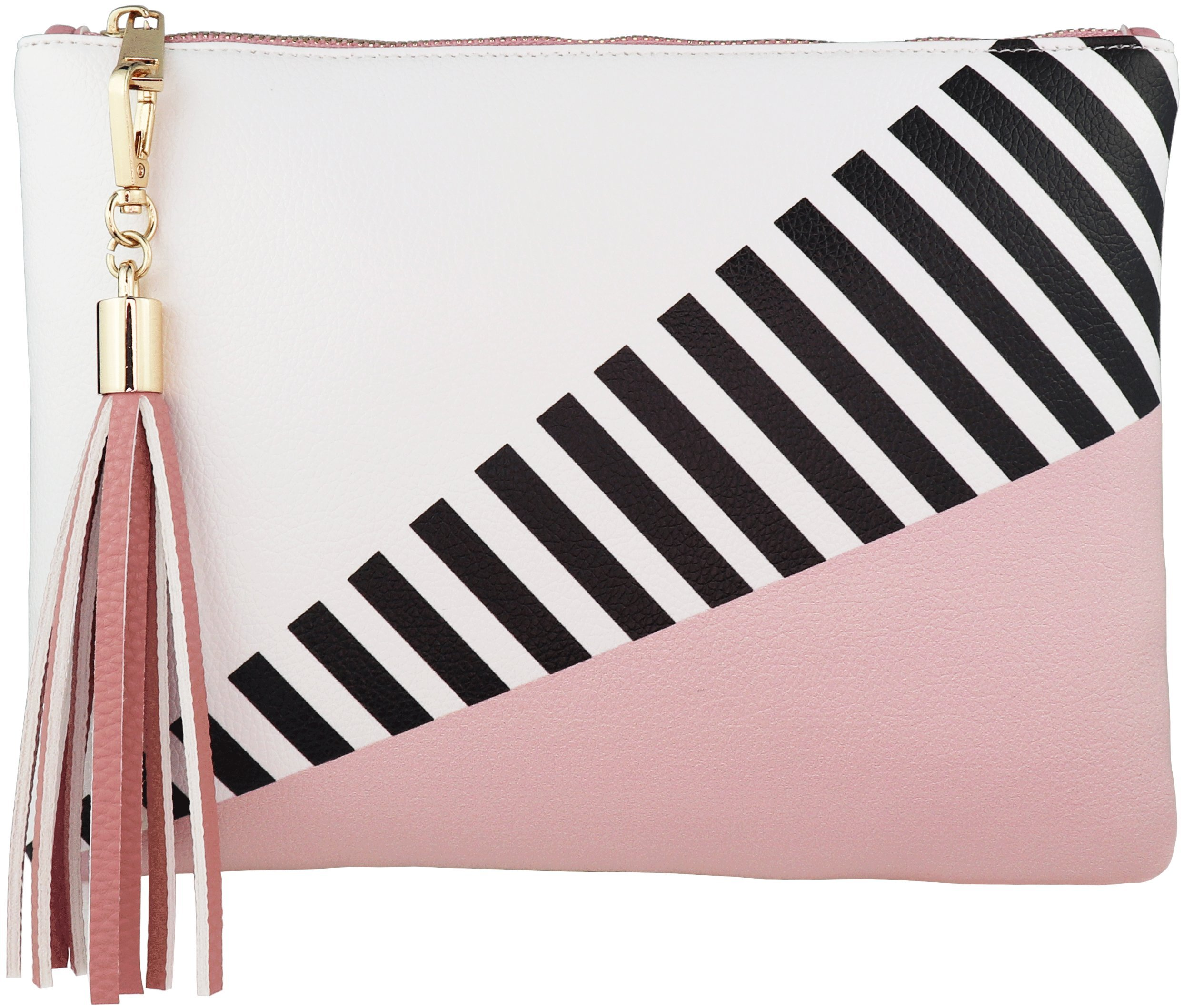 B BRENTANO Vegan Clutch Bag Pouch with Tassel Accent (Blush)