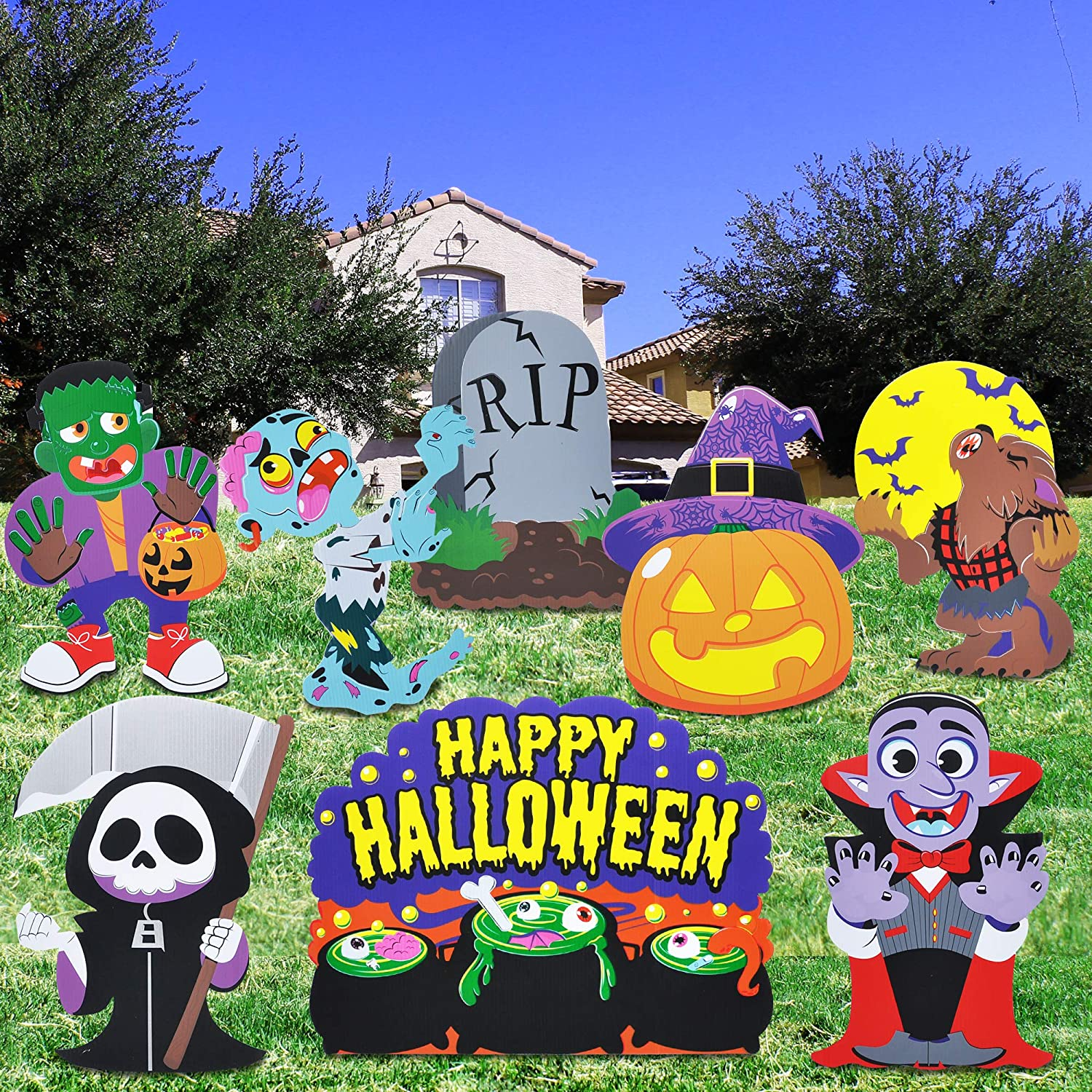 8 PCs Halloween Outdoor Decorations, Corrugate Yard Stake Signs for Lawn Yard Prop Decorations, Trick-or-Treating, Outdoor/Indoor Décor