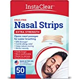 Instaclear Extra-Strength Nasal Strips, Tan 50 ct | Works Instantly, Breathe Better, Nasal Congestion Relief, Stops Snoring,
