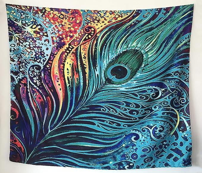 Amazon.com: Tapiz colorido de plumas de pavo real, tapiz ...