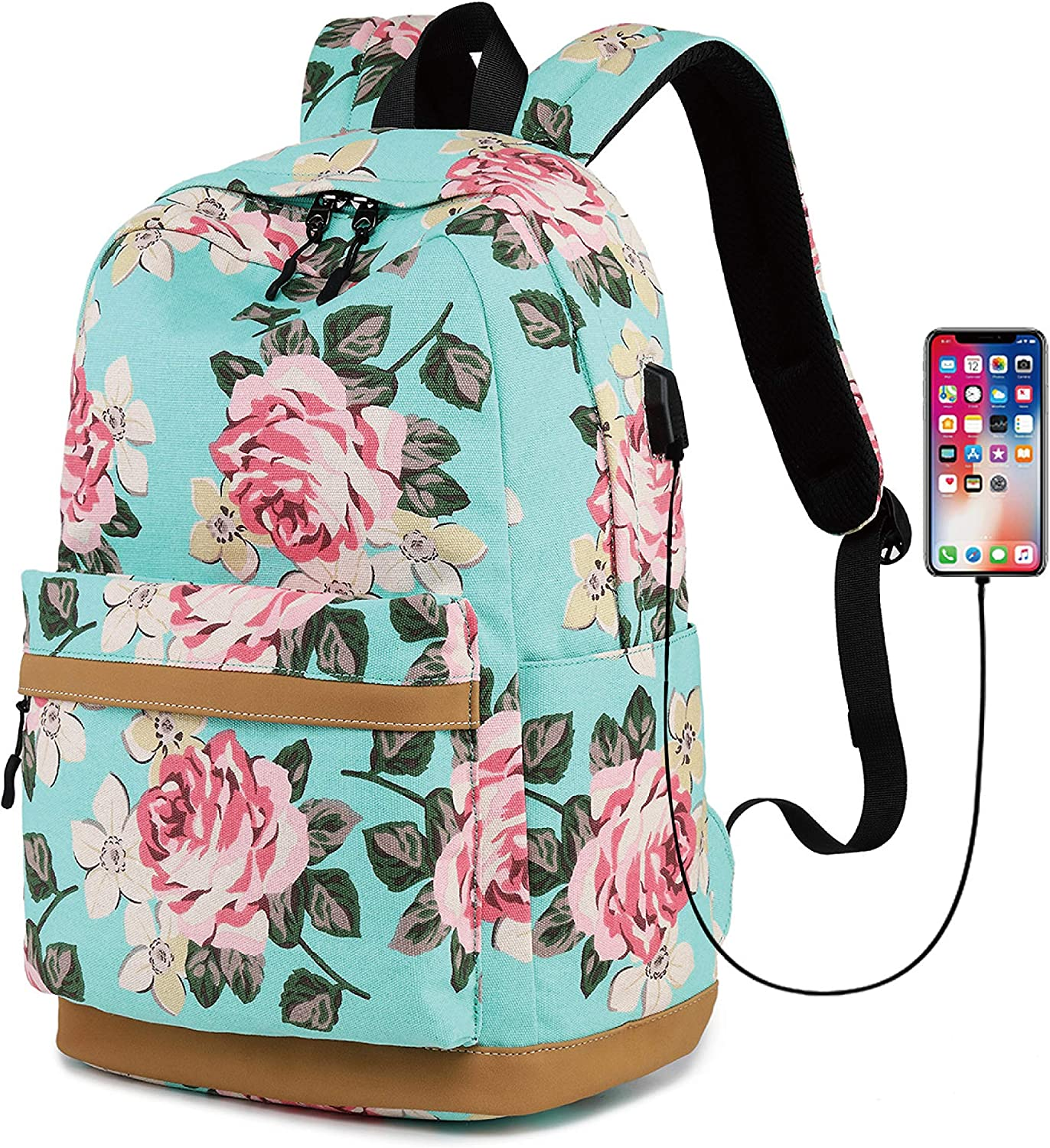 Backpack for Girls, Travel Laptop Backpack with USB Charging Port Large Capacity School Backpack for Student, Women, Teen Girls, Fits 15.6 inch Laptop Notebook Tablet GREEN FLOWER