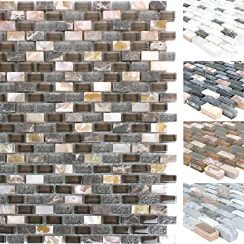 Badezimmer Fliesen Mosaik Bordure , Mosaikfliesen Muschel Glas Naturstein  Jasmina Wand Mosaik