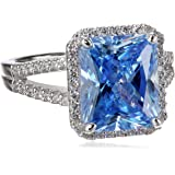 "Myia Passiello ""Cocktail Ring"" Emerald Cut Swarovski Zirconia Fancy Blue Ring"