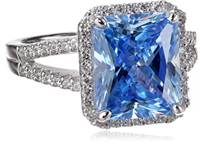 "be8dfb0b2 Myia Passiello ""Cocktail Ring"" Emerald Cut Swarovski Zirconia  Fancy Blue Ring ..."