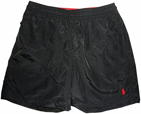 Men\u0027s Polo by Ralph Lauren Swimming Trunks Bathing Suit Black with Red Pony  ...
