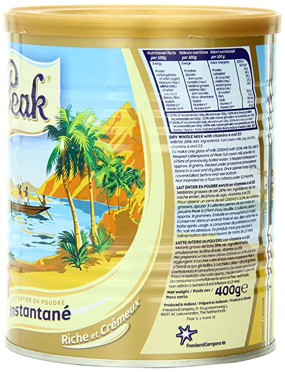 Peak Instant Full-Cream Dry Whole Milk Powder, 400-Grams: Amazon.es: Alimentación y bebidas