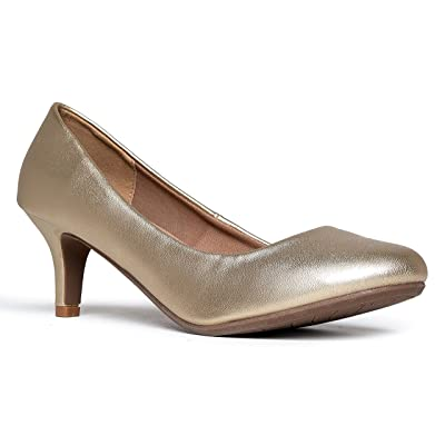 J. Adams Eclair Kitten Heel - Classic Round Toe Shoes - Dress Work Low Pumps | Pumps