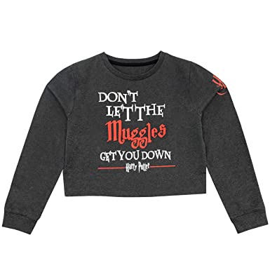 7df40a294602c HARRY POTTER Girls Muggles Crop Sweater Top: Amazon.co.uk: Clothing