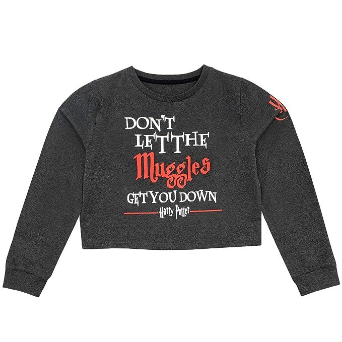 473a6e597 HARRY POTTER Suéter de Crop Top de Manga Larga para niñas Muggles  Amazon.es   Ropa y accesorios