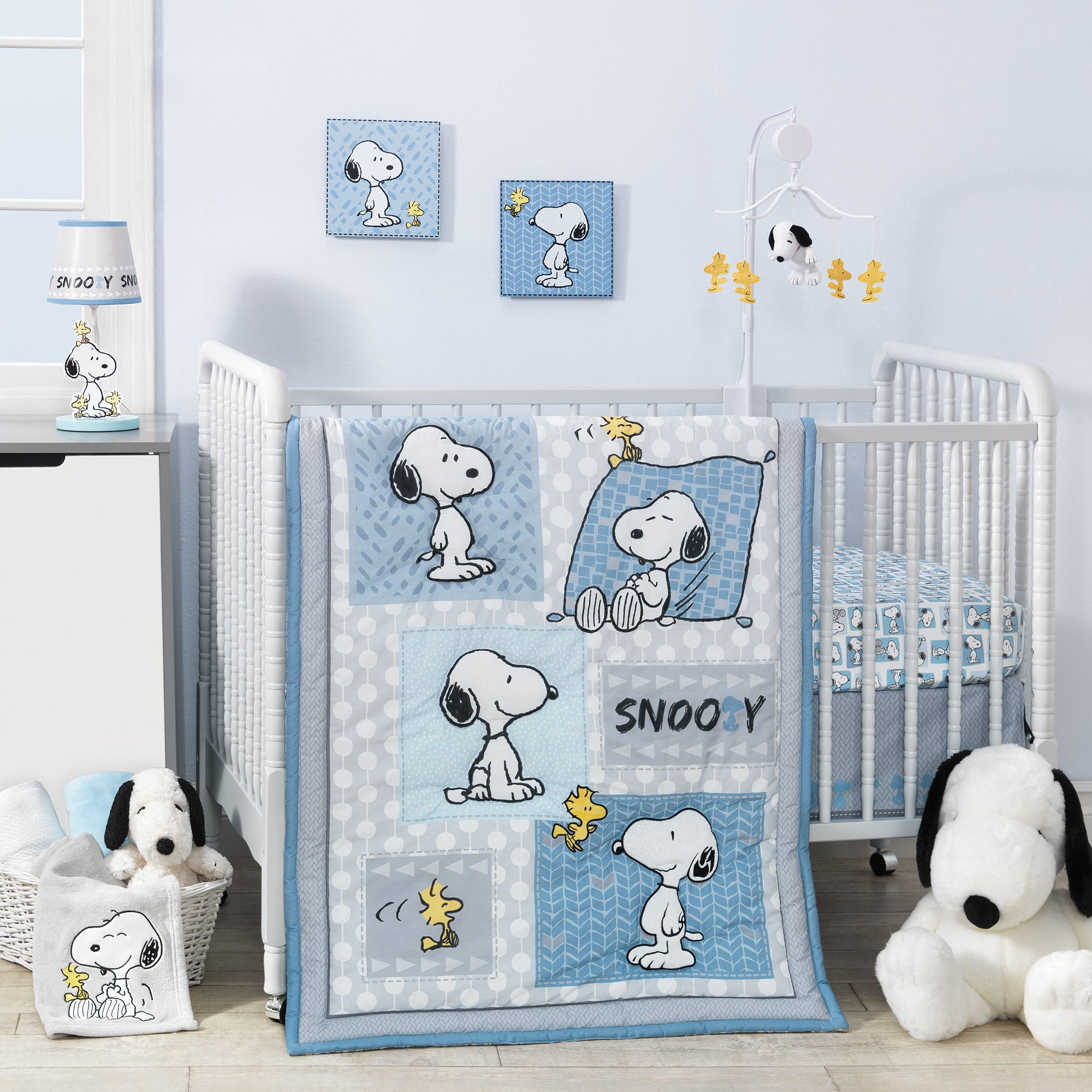 Bedtime Originals Peanuts Forever Snoopy 3 Piece Crib Bedding Set, Blue/Gray
