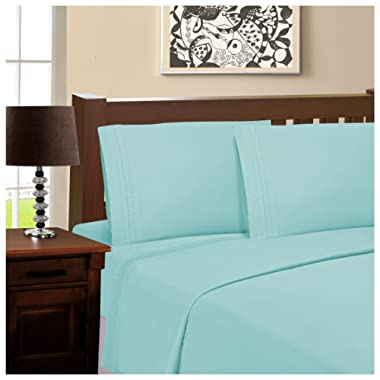 Superior 100% Brushed Microfiber Wrinkle Resistant Queen Sheet Set, 4-Piece, Aquamarine