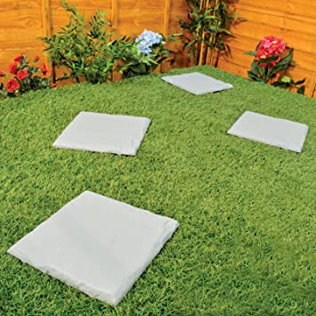 Set Of 4 12u0026quot; Square Plastic Patio Slabs / Garden Paving Stepping Stones