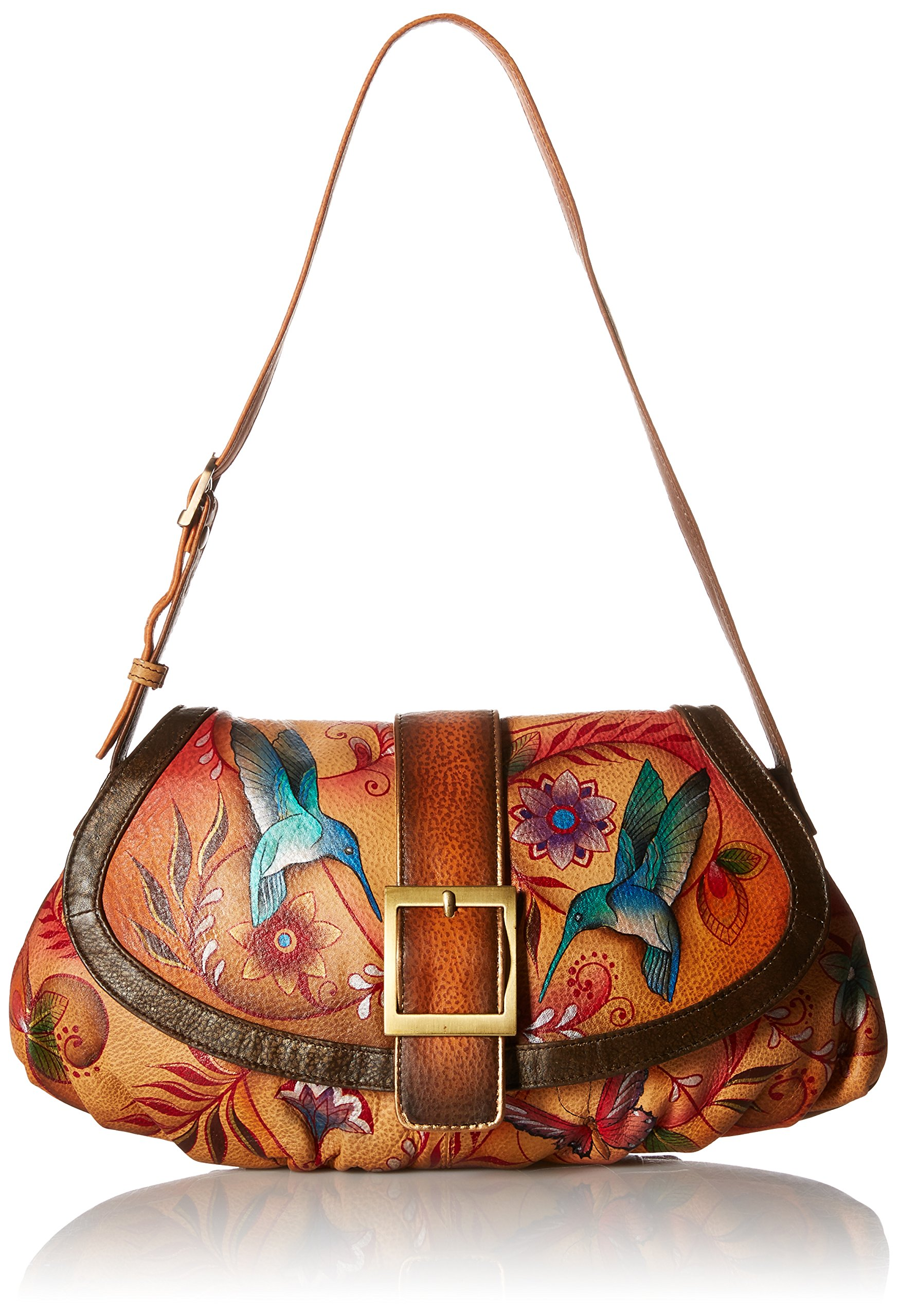 Anuschka Small Ruched Flap Handbag FJT, Flying Jewels Tan, One Size