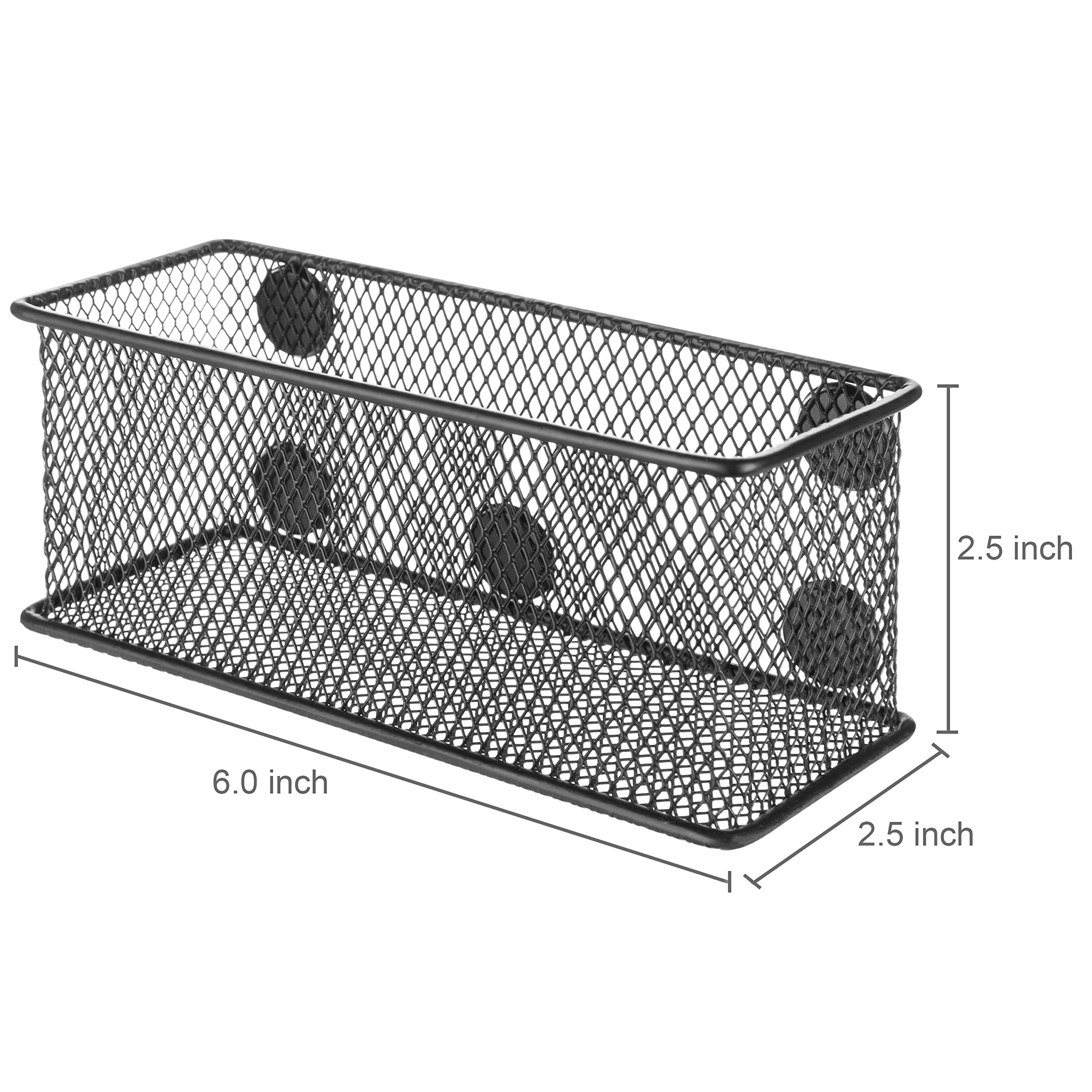 MyGift Wire Mesh Magnetic Storage Baskets, Office Supply Organizer, Set of 6, Black by MyGift (Image #7)