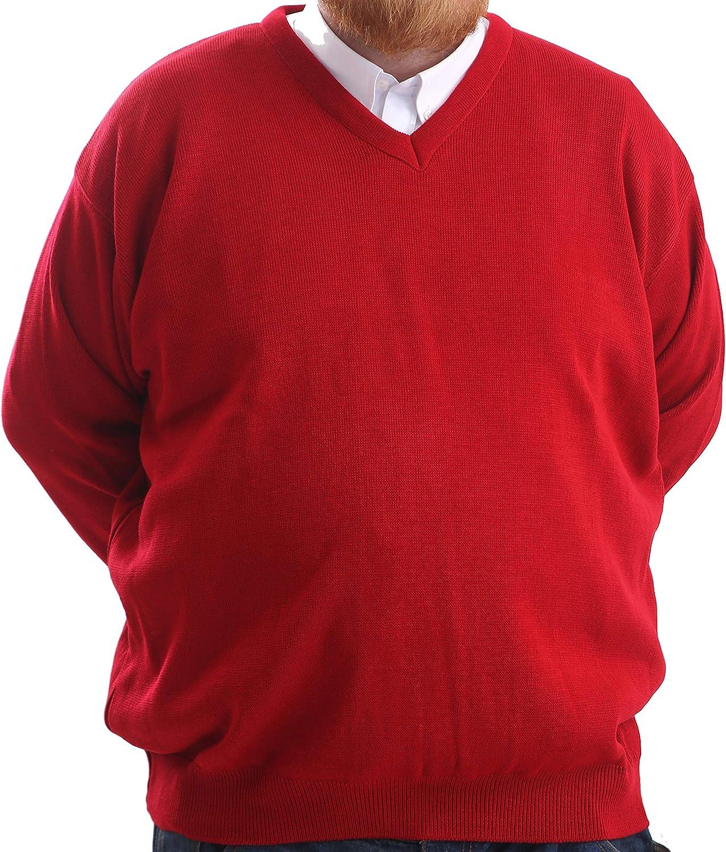 acr/ílico ajuste cl/ásico Jersey de cuello en V para hombre de gran tama/ño Brooklyn Clothing tama/ño king manga larga tacto suave