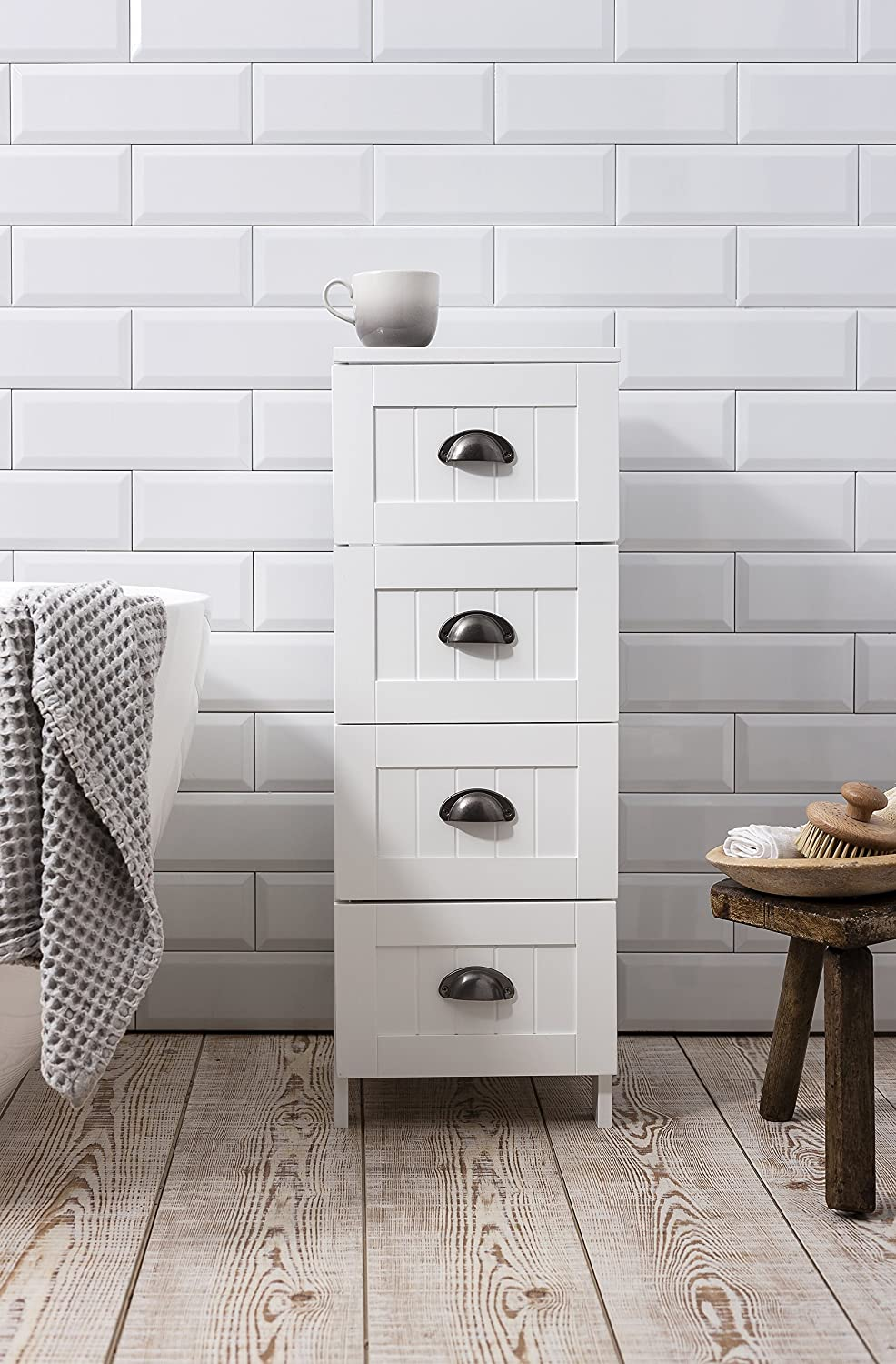 Stow Bathroom Cabinet 4 Drawer Storage Unit in White Noa & Nani ...