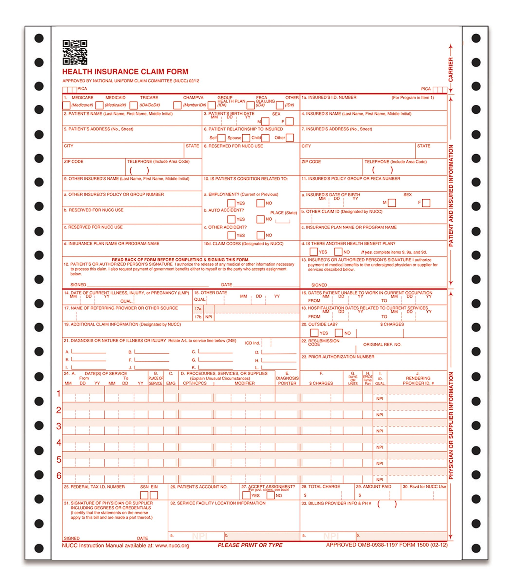 TOPS CMS-1500 Health Insurance Claim Forms, 1-Part, Continuous, 9.5 x 11 Inches, 3000 Sheets per Carton (50122RV)