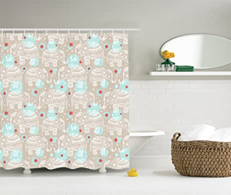red and turquoise shower curtain. Elephant Shower Curtain Boho Decorations By Ambesonne  Ethnic Ornamental Vintage Baby With Paisley Patterns Theme Amazon Com