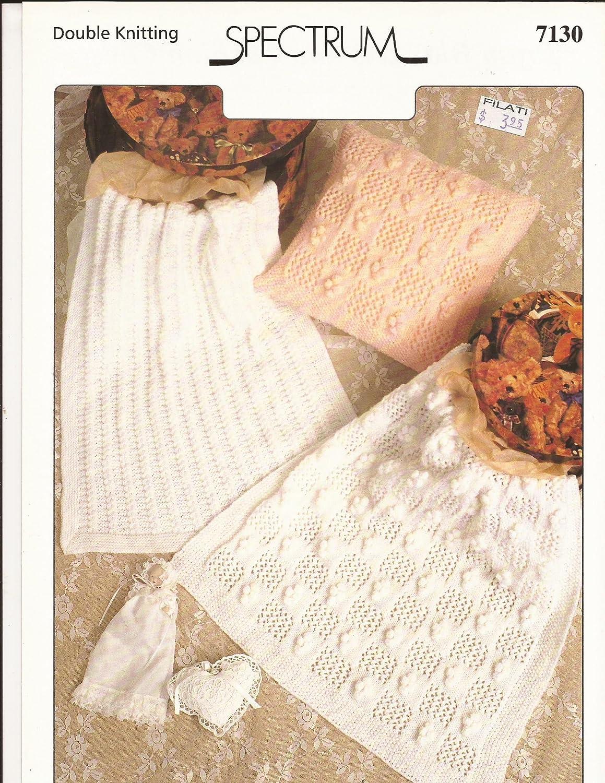 Pattern Only Spectrum Knitting Pattern #7130 Baby Pram Blankets /& Cushion Cover