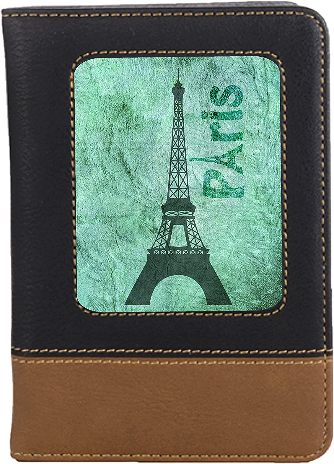 Grunge Watercolor Paris Leatherette Passport Wallet Style Case Cover For Travel