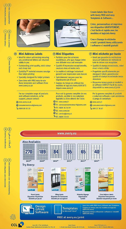 Avery J8651 25 Mini Organisingreturn Address Labels For Inkjet
