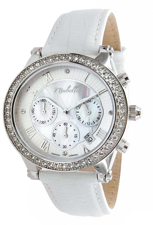 Miabelle Damen-Armbanduhr Analog Quarz Leder Weiß Diamanten Swarovski Elemente - 12-006W-A