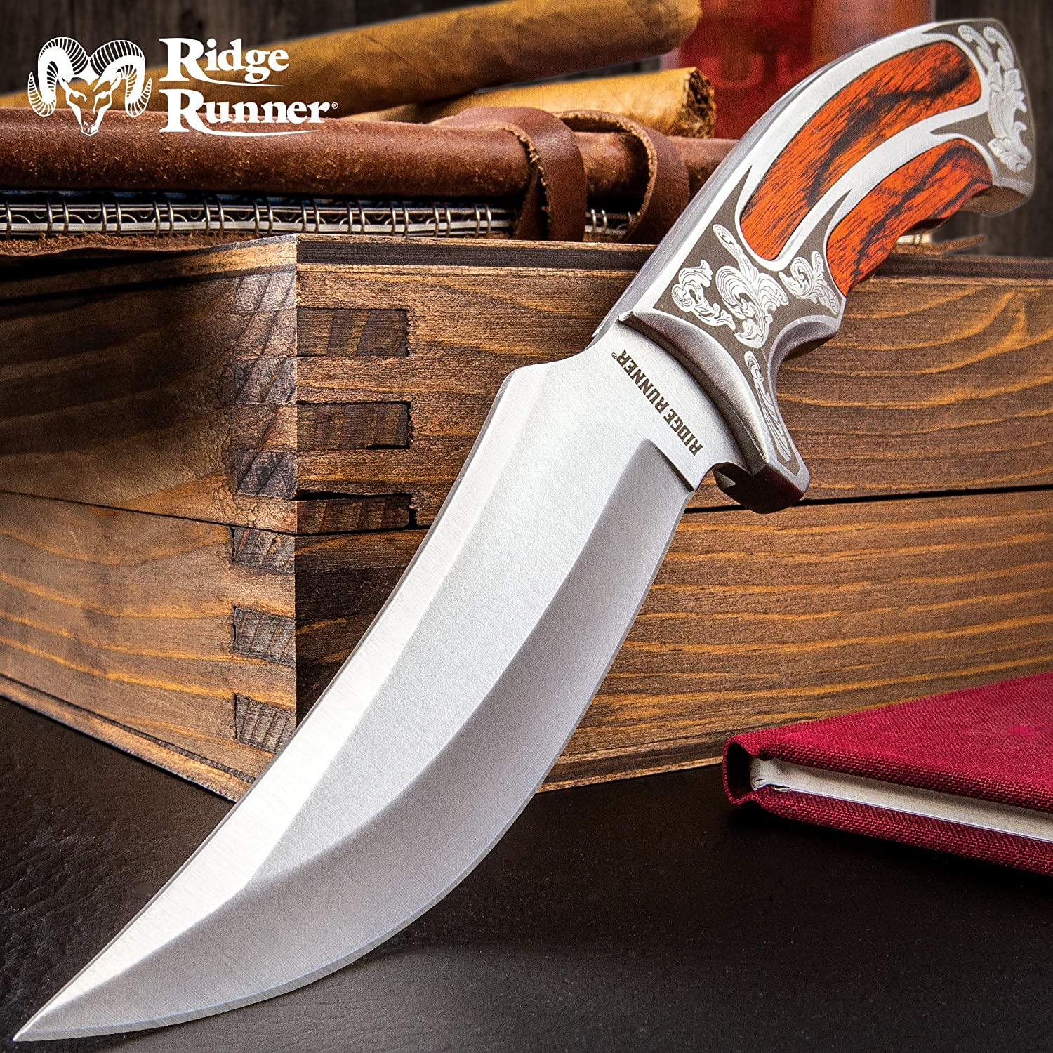 Ridge Runner Executive Wooden Bowie Knife on a Table