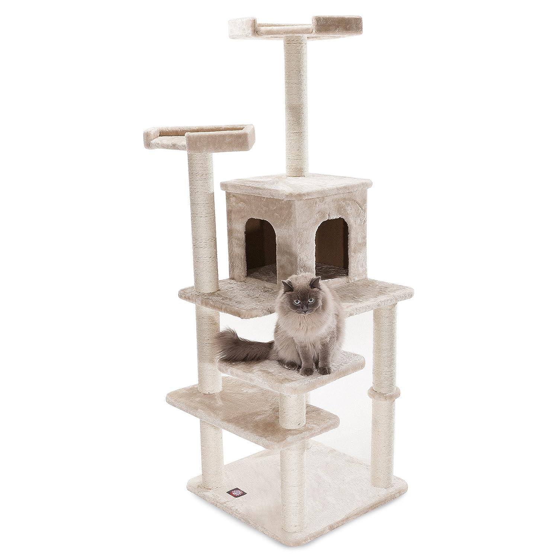 Majestic Pet Products 66 inch Beige Casita Cat Furniture Condo House Scratcher Multi Level Pet Activity Tree