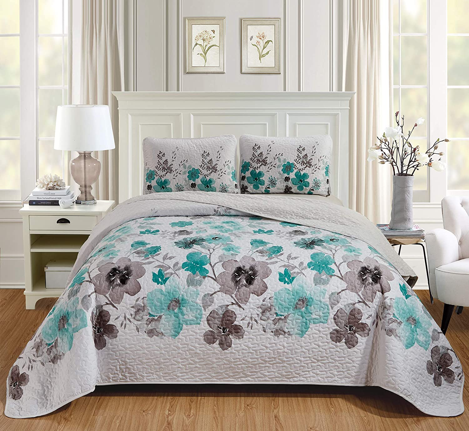 Luxury Home Collection 3 Piece Full/Queen Quilted Reversible Coverlet Bedspread Set Floral Printed Turquoise White Gray