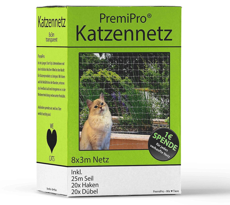 Prem iPro Chat Adaptateur pour balcon et fenêtre   Extra Large 8x 3m   transparentes Filet de protection pour chat–Filet de sécurité pour protéger votre chat, avec crochets, chevilles et 25m de corde de fixation PremiPro