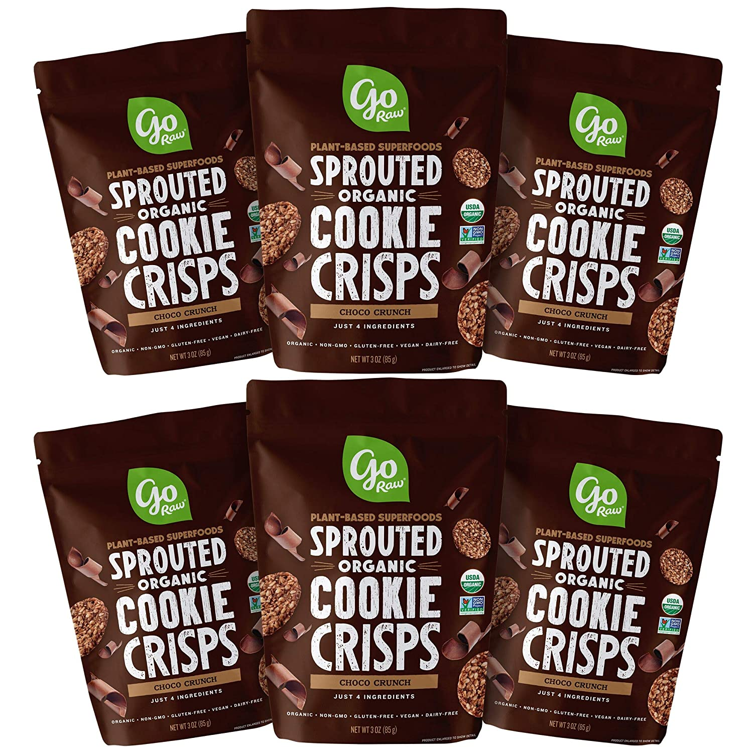 Go Raw Snacks, Sprouted Superfood Cookie Crisps, Choco Crunch (pack of 6 x 3oz bags) — Gluten Free | Vegan | Natural | Organic (00040125_ob)