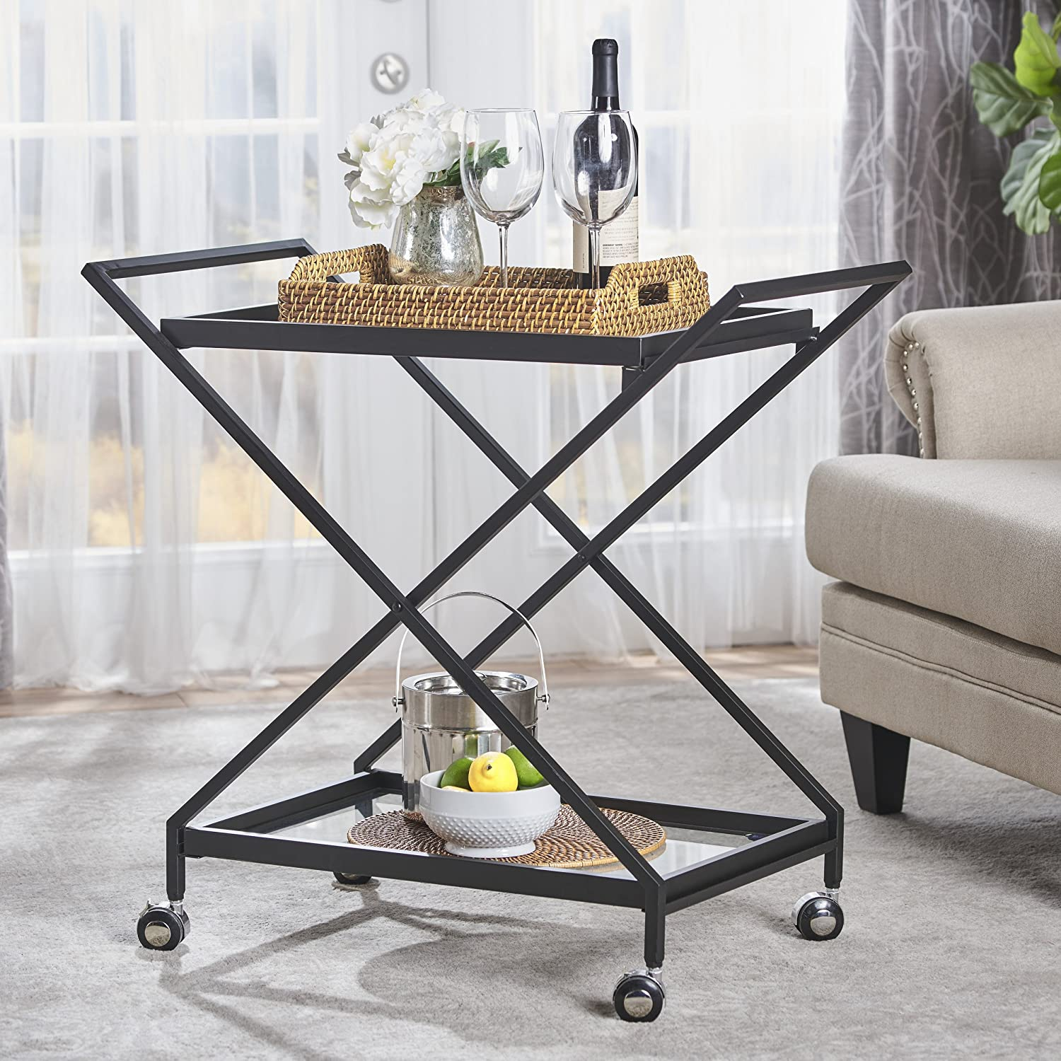 Christopher Knight Home Sheri Industrial Tempered Glass Black Iron Bar Cart