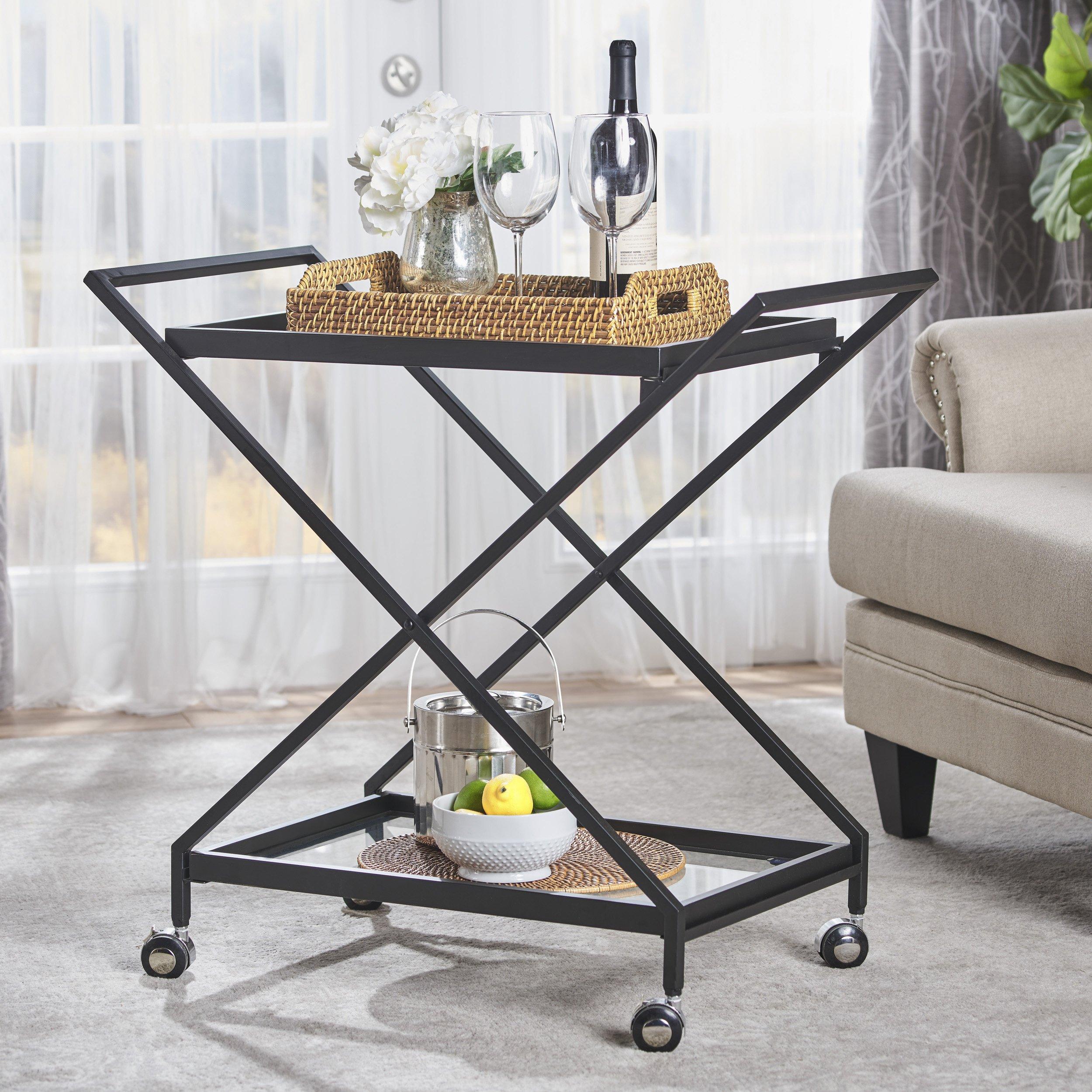 Sheri Industrial Tempered Glass Black Iron Bar Cart