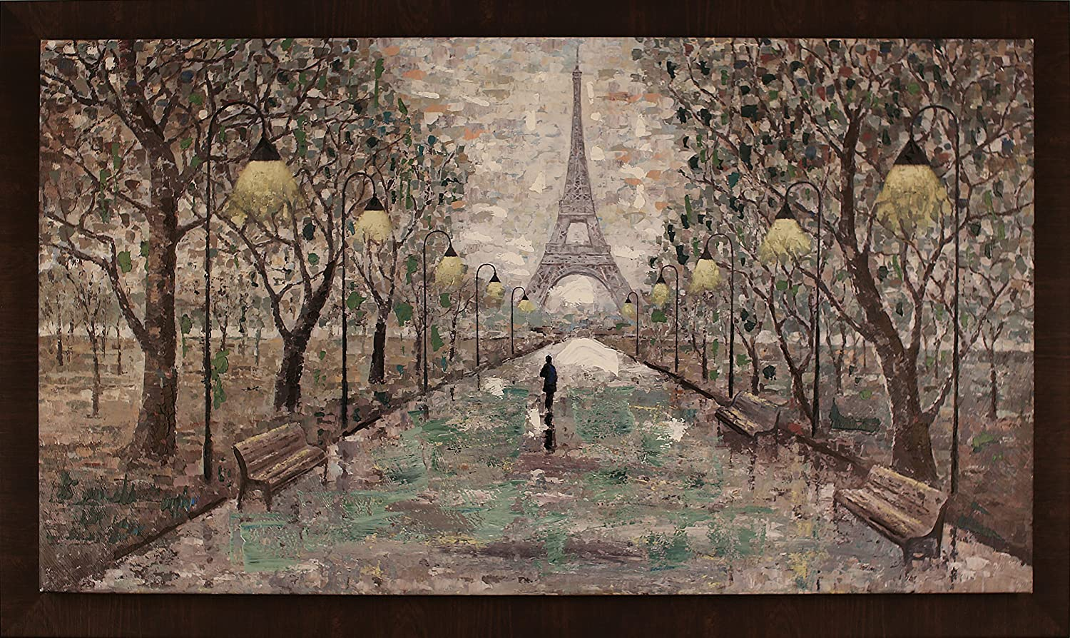 ArtMaison.ca 59.5-Inch by 35.5-Inch Framed Hand Painted Acrylic on Canvas, Anastasia C., Walk to Eiffel Tower Northwood Collection Inc. N2298