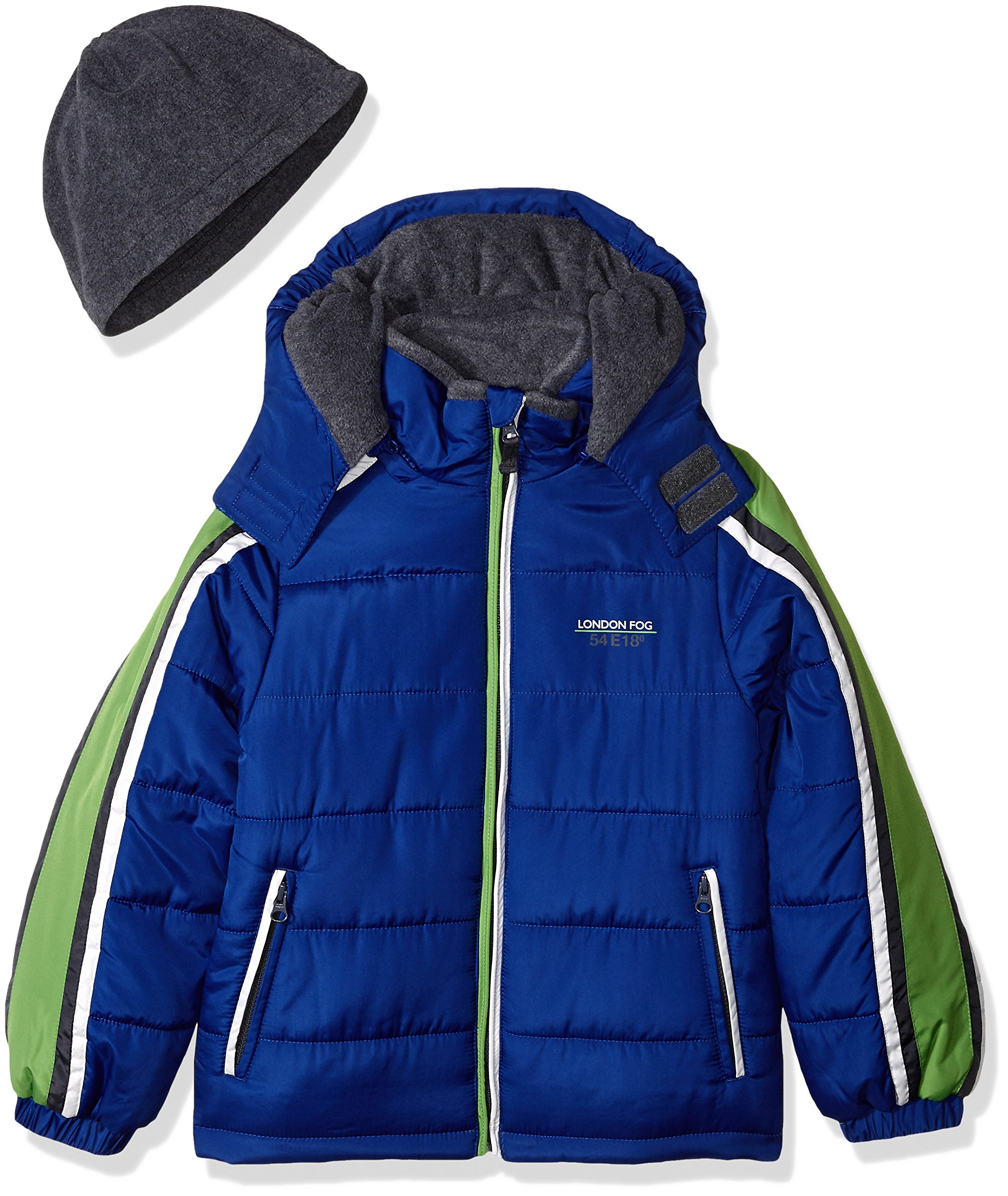 London Fog Little Boys' Active Heavyweight Jacket with Ski Cap, Real Blue, 5/6
