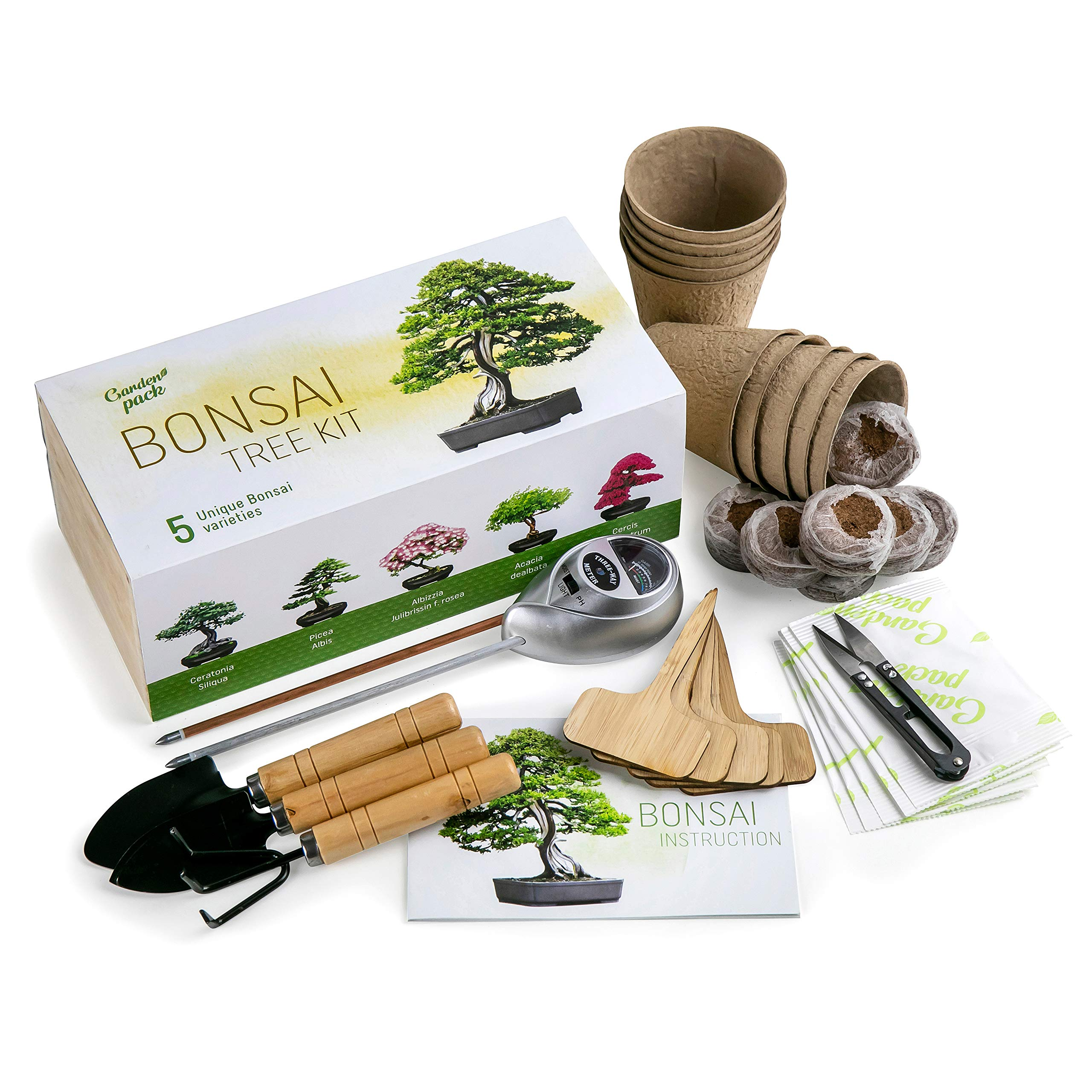 Grow Your Own Bonsai Tree Kit by Garden Pack - Bonsai Trees to Grow 5 Different Species - Gardening Gift Idea, Wood Box, Gardening Accessories